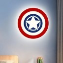 Cartoon LED Wall Mount Lamp Red and Blue Star Flush Wall Sconce with Acrylic Shade in Warm/White Light