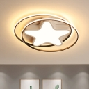 Acrylic Star Flush Mount Lighting Simple LED White Close to Ceiling Lamp in Warm/White Light