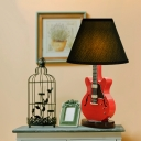 Red Guitar Table Lamp Stylish Retro Style Fabric Shade Single Head Table Light for Youth