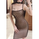 Womens Sexy Fashion Solid Color Slim Fit Sheer Fishnet Patchwork Mini Strap Dress