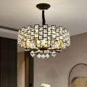 Cut Crystal Round Pendant Chandelier Contemporary 8/12-Light Living Room Hanging Lamp in Black