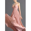 Amazing Womens Pink Spaghetti Straps Criss Cross Zipper Back Maxi Pleated A-line Slip Dress for Special Occasion