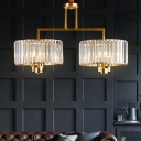 Postmodern Branching Chandelier 6 Bulbs Clear Prismatic Crystal Hanging Light in Brass