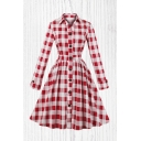 Fashionable Womens Checkered Print Long Sleeve Spread Collar Button up Mid Pleated Flared Shirt Dress