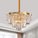Layered Hanging Chandelier Contemporary Prismatic Optical Crystal 6/10 Bulbs 19