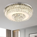Round/Square Bedroom Ceiling Flush Simplicity Clear Crystal Chrome LED Flush-Mount Light Fixture
