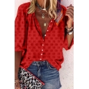 Popular Womens All over Floral Print Button up Turn-down Collar Bishop Sleeve Relaxed Fit Blouse Top