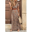 Stylish Paisley Printed Boho Style High Slit Side Belted Surplice Neck Short Sleeve Maxi A-Line Wrap Dress for Women