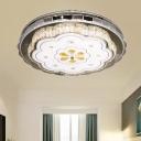 Cut Crystal Stainless Steel Ceiling Flush Scalloped Modernist LED Flush Mount Light Fixture