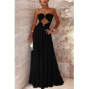 Chic Womens Solid Color Cut Out Front Open Back Strapless Sleeveless Floor Length Fit&Flare Tube Dress in Black
