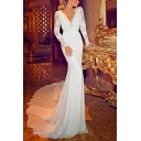 Glamorous Womens Solid Color Hollow Out Lace Backless Scalloped Deep V Neck Long Sleeve Floor Length Bodycon Dress Mermaid Gown in White