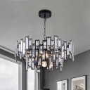 Rectangle-Cut Crystal Round Drop Lamp Modern 5-Bulb Chandelier Pendant Light in Black/Gold for Sitting Room