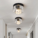 2-Tier Crystal Rectangle LED Flush Mount Contemporary Black/Gold Close to Ceiling Lamp for Hallway