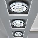 Nickel LED Flush Ceiling Light Modern Crystal Encrusted 2-Layer Round/Square Flushmount Lighting for Balcony