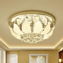 Lotus Shaped LED Close to Ceiling Lamp Modern Clear Crystal Orbs Flush Mounted Light for Bedroom