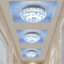 Round Mini Corridor Flush Mount Light Simplicity Cut Crystal Gold LED Ceiling Fixture in Warm/White Light
