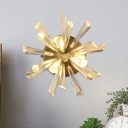 Burst Design Clear Crystal Rods Sconce Postmodern 2 Lights Bedroom Wall Mount Lamp in Warm/White Light