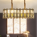 Ellipse Suspension Pendant Modern Crystal Rectangle 8 Heads Black and Gold Island Ceiling Light for Dining Room