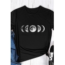 Girls Casual Moon Printed Short Sleeve Crew Neck Slim Fitted T-shirt