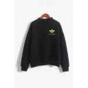 Letter Avocado Graphic Long Sleeve Mock Neck Loose Fitted Cool Pullover Sweatshirt