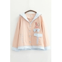 Stylish Rabbit Embroidered Contrasted Flap Pocket Bow Patched Long Sleeve Hooded Button-up Loose Jacket for Ladies