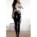 New Fashion Black PU Leather Skinny Fit High Waist Solid Color Pants