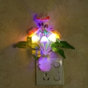 Blossoming Living Room LED Night Lamp Plastic Decorative Plug-in Wall Light in Multicolor Light