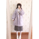 Cute Peter Pan Collar Balloon Sleeves Button-Down Woolen Quilted Coat with Pockets & Bows