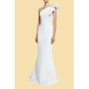 Elegant Womens Solid Color Ruffled Oblique Shoulder Maxi Fishtail Evening Dress