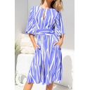Popular Stripe Printed Half Sleeve Boat Neck Cut out Bow Tied Waist Mid A-line Dress for Women