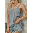 Leisure Womens Scoop Neck Spaghetti Straps Relaxed Fit Cami Top in Gray