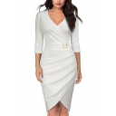 Glamorous Womens Solid Color Buckle Waisted Pleated Deep 3/4 Sleeve V Neck Midi Wrap Bodycon Dress