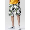 Cool Mens Shorts All over Leaf Printed Pocket Drawstring Mid Rise Relaxed Fitted Shorts in White