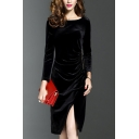 Popular Womens Velvet Plain Long Sleeve Round Neck Slit Embellished Mid Sheath Dress