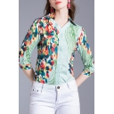 Trendy Womens Balloon Printed 3/4 Sleeve V-neck Button up Regular Fit Shirt in Green