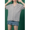Casual Plaid Patterned Short Sleeve Notched Collar Button-up Relaxed Shirt Top in Blue