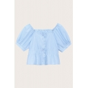 Fancy Ladies Solid Color Puff Sleeve Off the Shoulder Button up Stringy Selvedge Regular Fit Crop Blouse