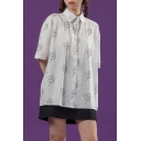 Pretty Girls Allover Flower Printed Short Sleeve Spread Collar Button-up Relaxed Fit Shirt Top in White
