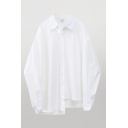 Simple Womens Solid Color Long Sleeve Spread Collar Button up Irregular Hem Oversize Shirt Top