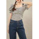 Lovely Girls Checkered Printed Puff Sleeve Square Neck Ruched Slim Fit Crop Blouse Top in Black