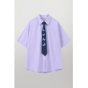 Womens Leisure Solid Color Short Sleeve Point Collar Button-up Loose Fit Shirt with Butterfly Tie
