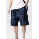Cool Mens Shorts All over Letter Printed Applique Flap Pocket Drawstring Mid Rise Regular Fitted Shorts