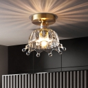 Crown Clear Glass Semi Flush Light Rustic Style 1 Head Bedroom Close to Ceiling Lighting in Brass