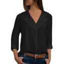 Fashionable Solid Color V-Neck Long Sleeve Regular Fitted Pullover Shirt for Women