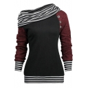 Unique Stripe Contrast Trim Skew Neck Raglan Long Sleeve Sweatshirt