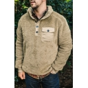 Mens Warm Plain Long Sleeve Button Embellished Chest Pocket Fluffy Pullover Sweater