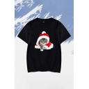 Casual Christmas Tee Top Cat Hat Pattern Round Neck Short Sleeve Relax Fitted Top Tee for Men