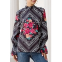 Chic Womens Flower Tribal Print Keyhole Back Stand Collar Long Sleeve Loose Fit Blouse Top