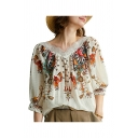 Vintage Womens Hollow Out Lace Patchwork Tribal Printed Scalloped V Neck Bishop Sleeve Loose Fit Shirt in Apricot