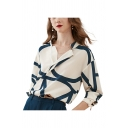 Apricot Vintage Womens Color Block Single Breasted Notched Collar Long Sleeve Loose Fit Shirt